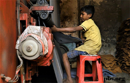 10 year old working machine in tannery