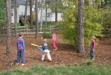 Playing baseball outside
