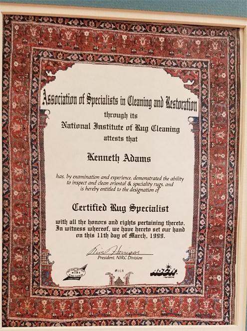 Certified Rug Specialist Certificate