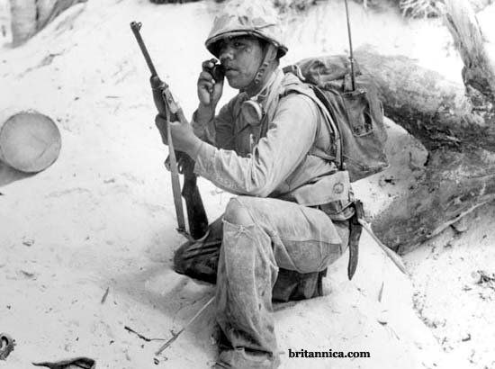Code Talker Using Radio to Relay Messages - WWII