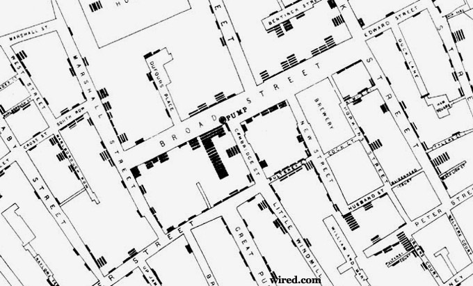 Snow's Map of Cholera on and around Broad Street