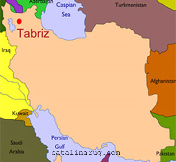Map of Iran with Tabriz