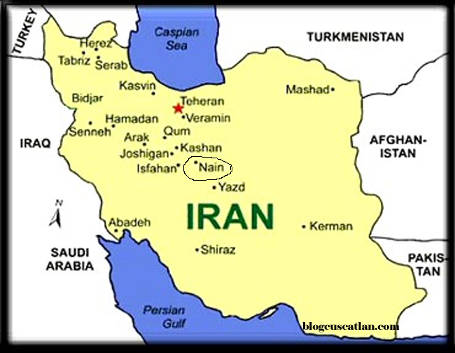 Map of Iran with Nain