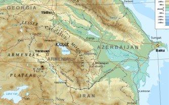 Map of Caucasus Region with Kazak