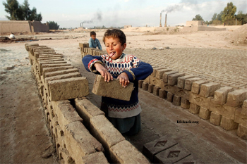 7 year old working in brick factory in Afghanistan