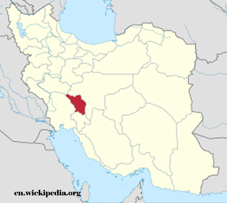 Bakhtiari rugs woven in red area on Map of Iran