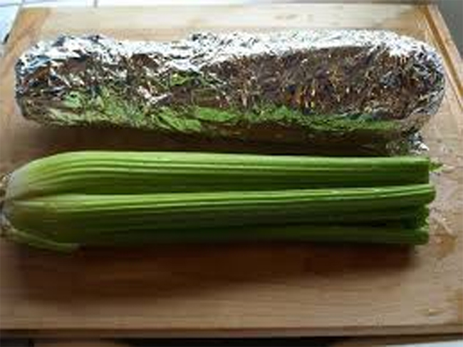 Celery Wrapped In Aluminum Foil
