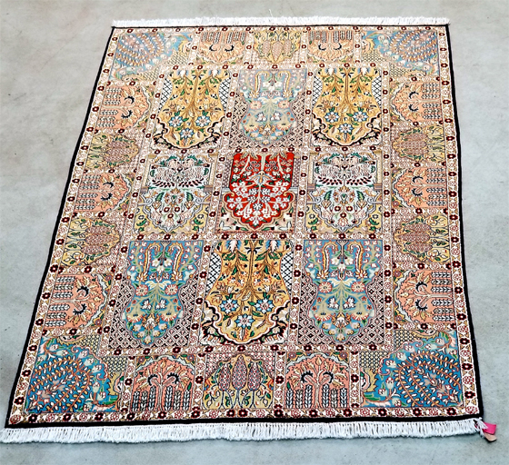 Chinese Silk Garden Panel Oriental Rug for Sale