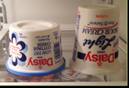 Cottage Cheese & Sour Cream Upside Down in Fridge