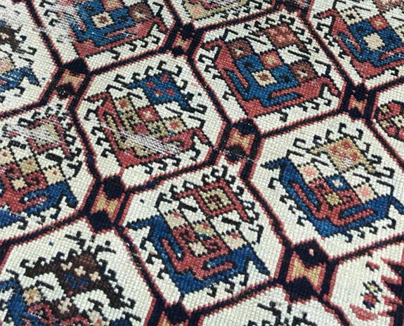 Antique Dagestan Rug with Latchhook Motifs