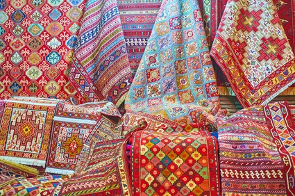 Rugs in Shiraz, Iran Bazaar