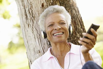 Senior with headphones
