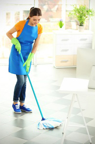 Mopping Tile Floor