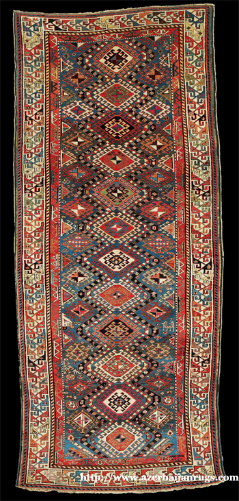 Moghan Rug 1850s with Diamond Motifs