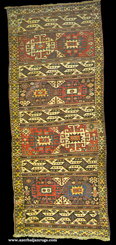 Moghan Rug with Memling Guls 19th Century