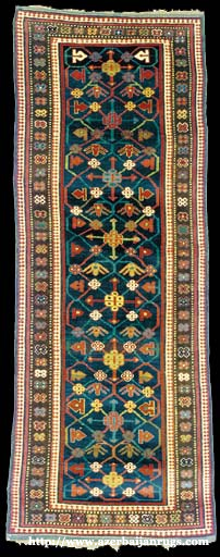 Moghan Rug 1870s with Palmettes and Rosettes