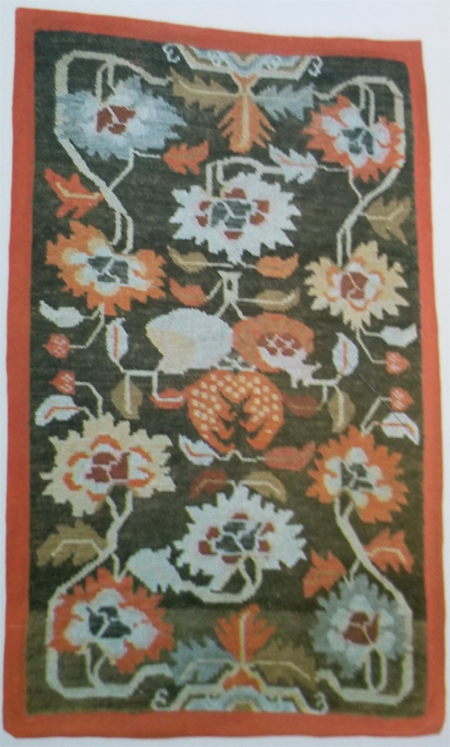 Tibetan Rug with 3 Fruit Center and Mix of Lotus & Chrysanthemum Flowers