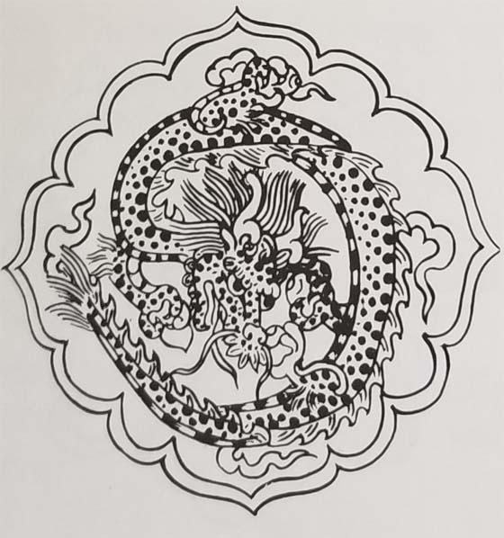 Tibetan Rug Medallion Design-The Dragon