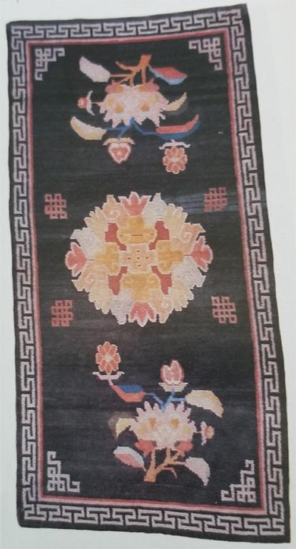 Tibetan Rug with One Floral Medallion (Crysanthemum)