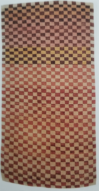 Tibetan Rug With Geometric Design and Range of Mellow Colors