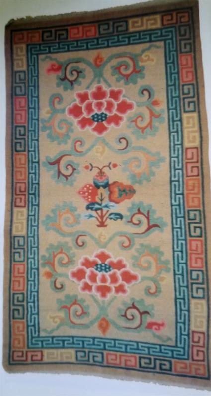 Tibetan Rug With 2 Lotus Flowers Flanking 3 Fruits