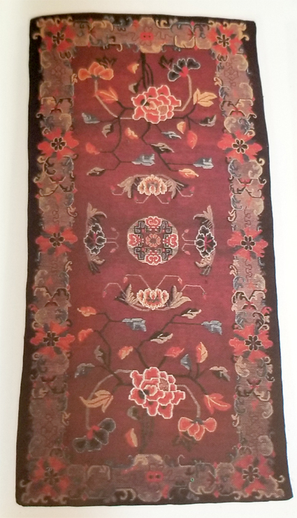 Tibetan Rug with Flower/Rosette Center and Floral Border Design