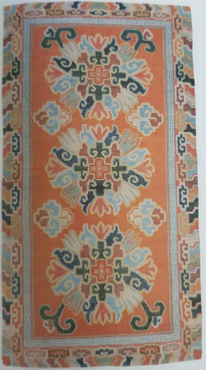 Tibetan Rug with Stylized Flower Medallions Possibly Chrysanthemum
