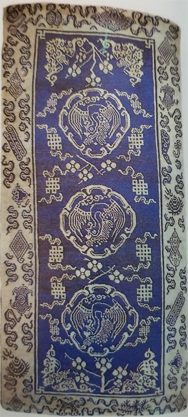 Tibetan Three Medallion Rug with Phoenix Medallions