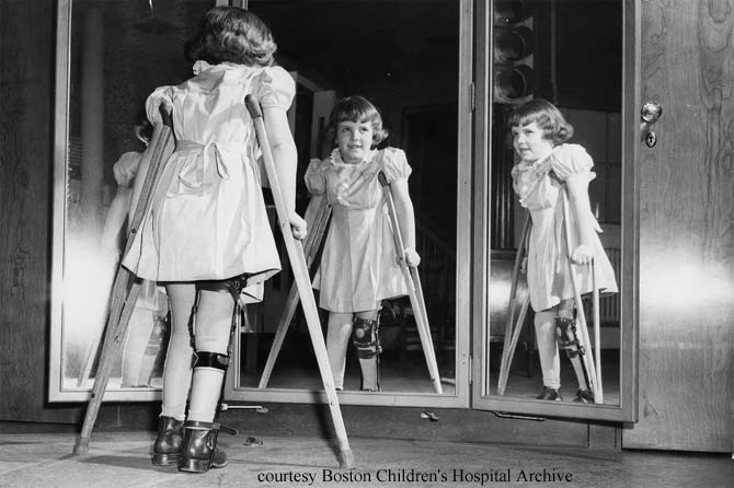 Young Girl With Crutches