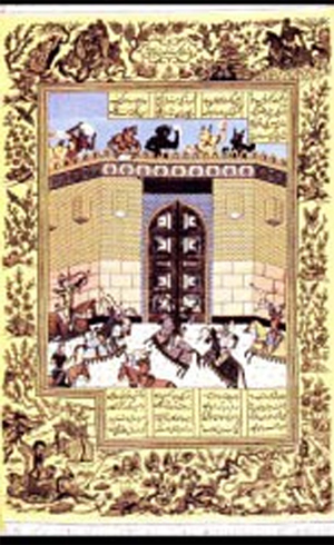 Antique Tabriz rug, depicting the lyrics and paintings from Shahnameh, the Book of Kings by Ferdowsi.