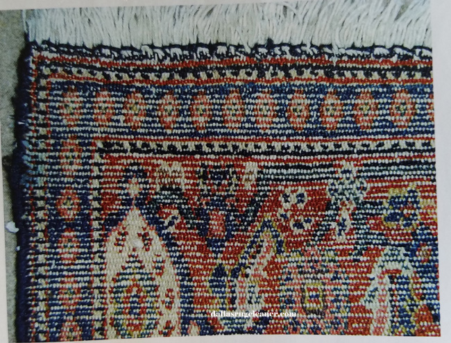 Back of Senneh Oriental Rug