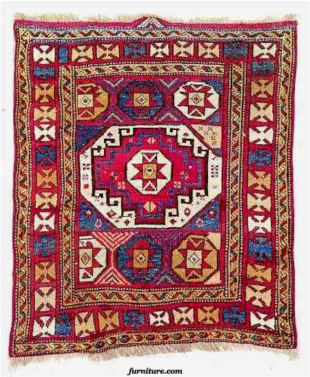 19th Century Bergama Rug with Memling Gul Motifs