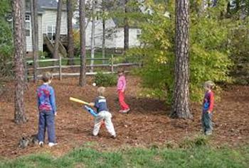 Playing baseball outside