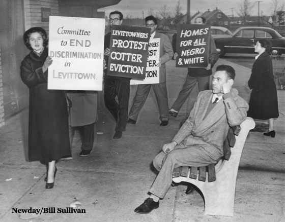 William Cotter and Protesters Outside Levittown Sales Office