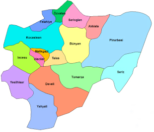 Districts of Kayseri Province