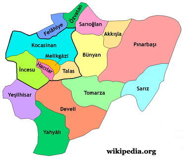 Districts of Kayseri Map