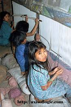 Young girls weaving