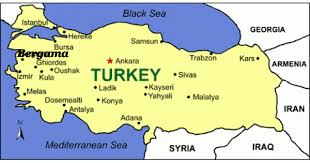 Map of Turkey with Bergama