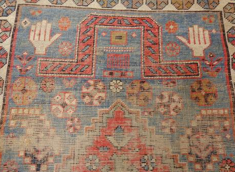 Prayer Rug with Stitched Hands