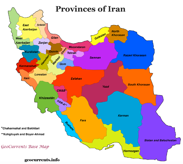 Provinces Map of Iran