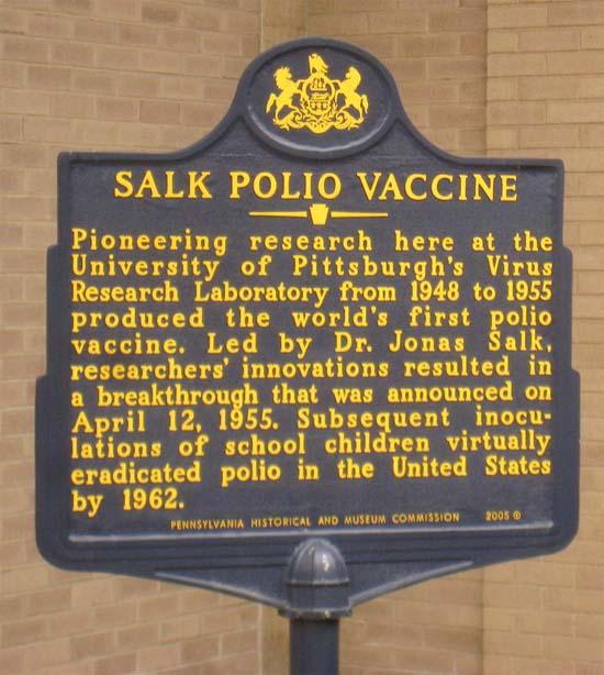 Salk Polio Vaccine Plaque