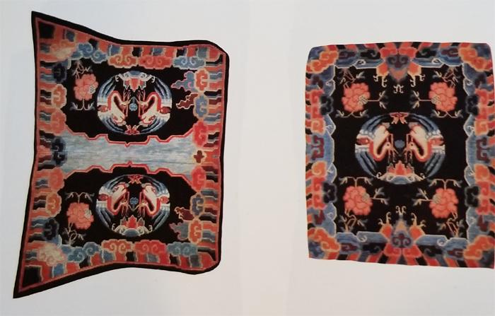 Tibetan Butterfly Shaped Bottom Saddle Rug and Rectangular Top Rug