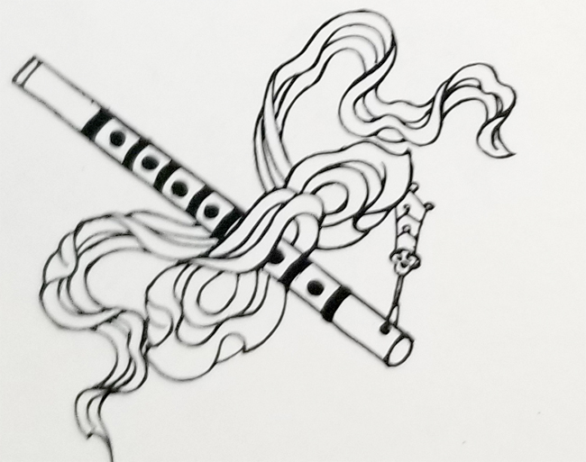 Tibetan Eight Symbols of the Taoist Immortal Spirits-The Flute