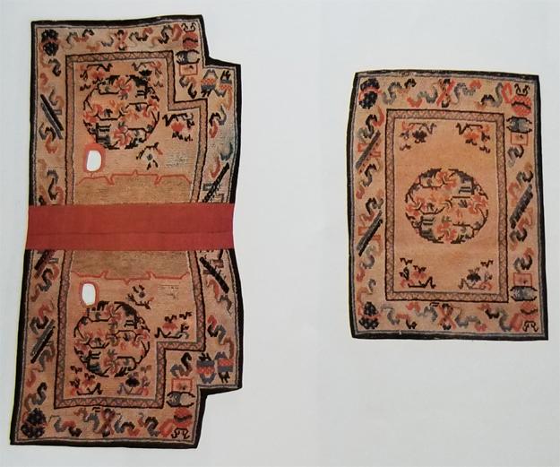 Tibetan Rectangular Bottom Saddle Rug with Indented Corners and Short Top Rug