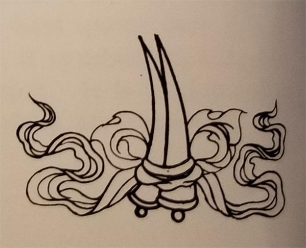 Tibetan Rug Buddhist Symbol-The Elephant Tusks