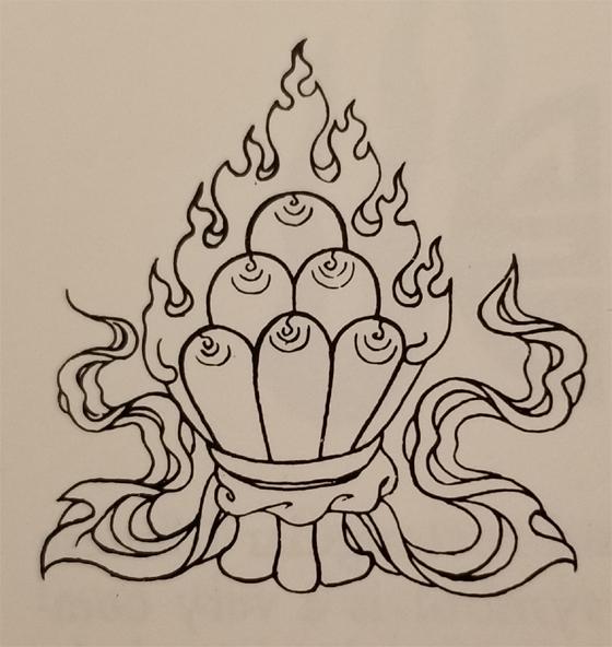 Tibetan Rug Buddhist Symbol-The Flaming Jewel