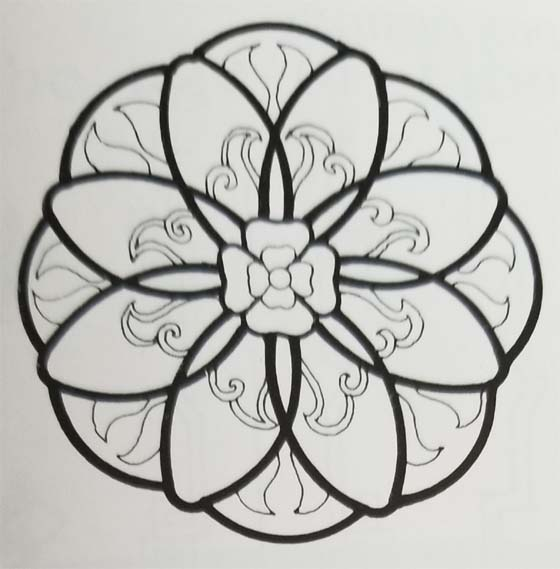 Tibetan Rug Medallion Design with Stylized Flower Only