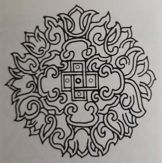 Tibetan Rug Medallion Design with Geometric and Stylized Flower Designs