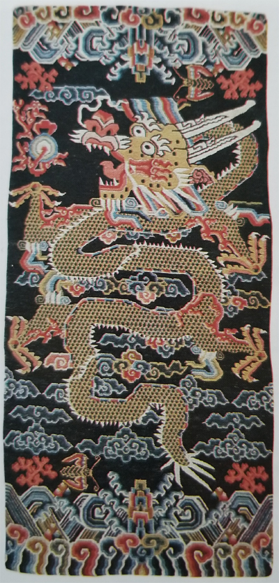 Tibetan Rug with Several Elements of Nature Designs (Clouds, Coral, Mountain and the Sea)