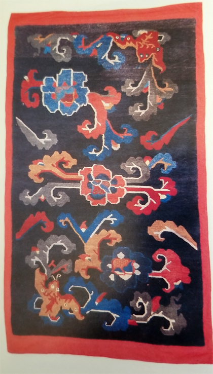 Tibetan Rug with Lotus and Bat Design Elements